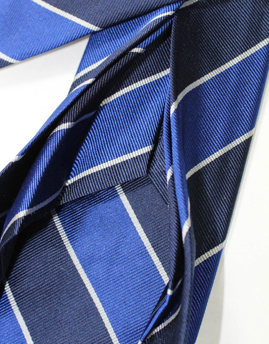 Massimo Valeri 11 Fold Tie Navy Stripes Design Elevenfold Necktie