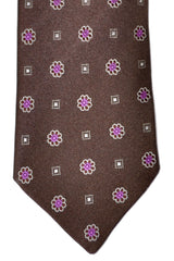 Massimo Valeri Extra Long Tie Brown Pink Silver