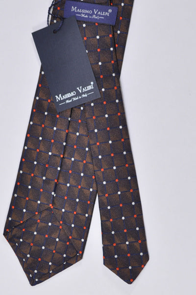 Massimo Valeri Extra Long Tie Brown Grid Dots - Hand Made In Italy SALE