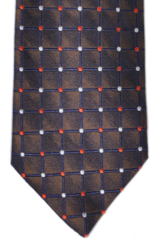 Massimo Valeri Extra Long Tie Brown Grid - Hand Made In Italy