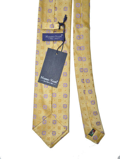 Massimo Valeri Extra Long Tie Mustard-Gold Purple - Hand Made In Italy