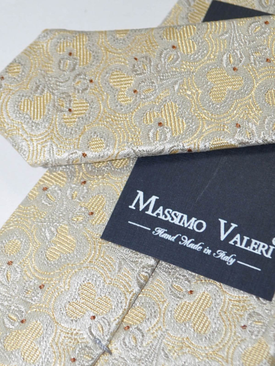 Massimo Valeri Extra Long Tie Cream Gray Floral