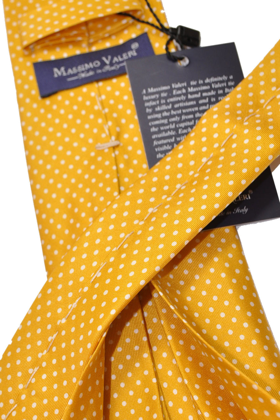 Luigi Monaco 11 Fold Tie Mustard Yellow White Dots Hand Made In Italy
