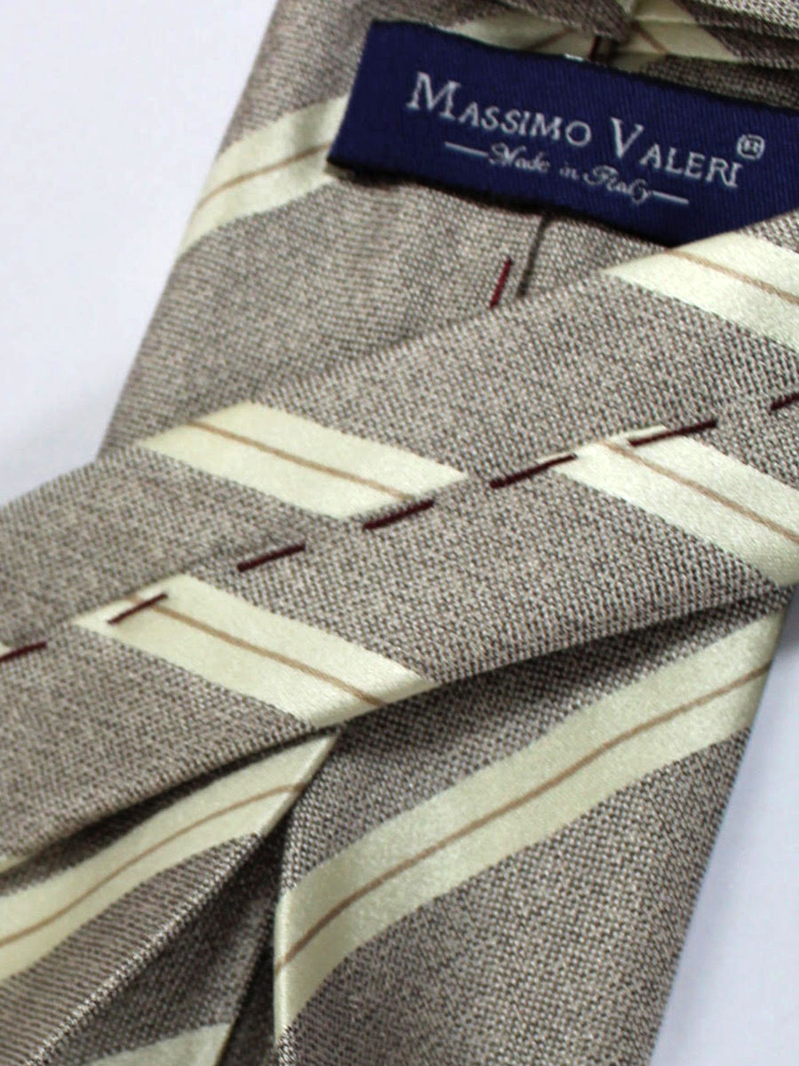 Massimo Valeri 11 Fold Tie Gray Silver Cream Stripes Elevenfold Necktie