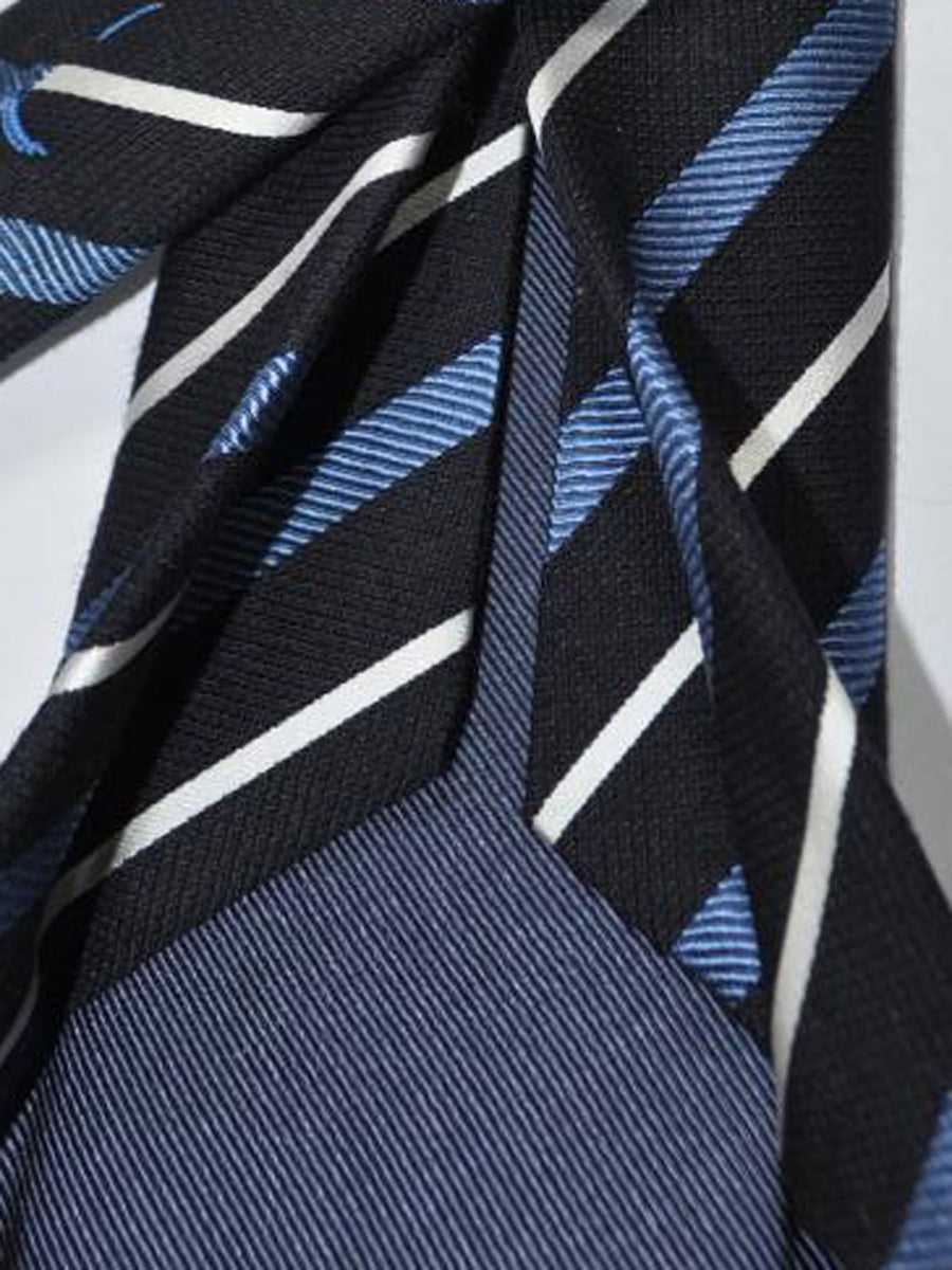Massimo Valeri Sevenfold Tie Navy Blue Stripes Silk Tie