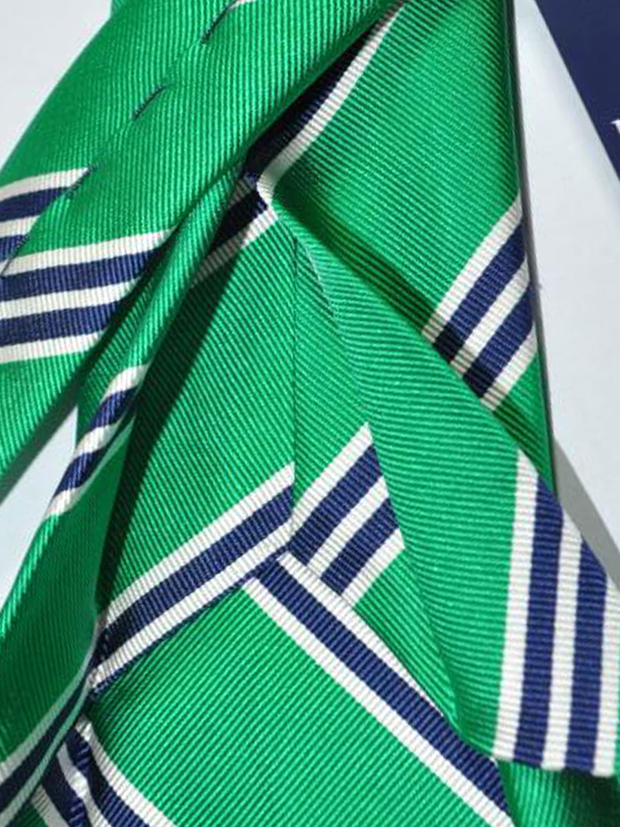 Massimo Valeri Sevenfold Tie Green Navy Stripes Silk Tie