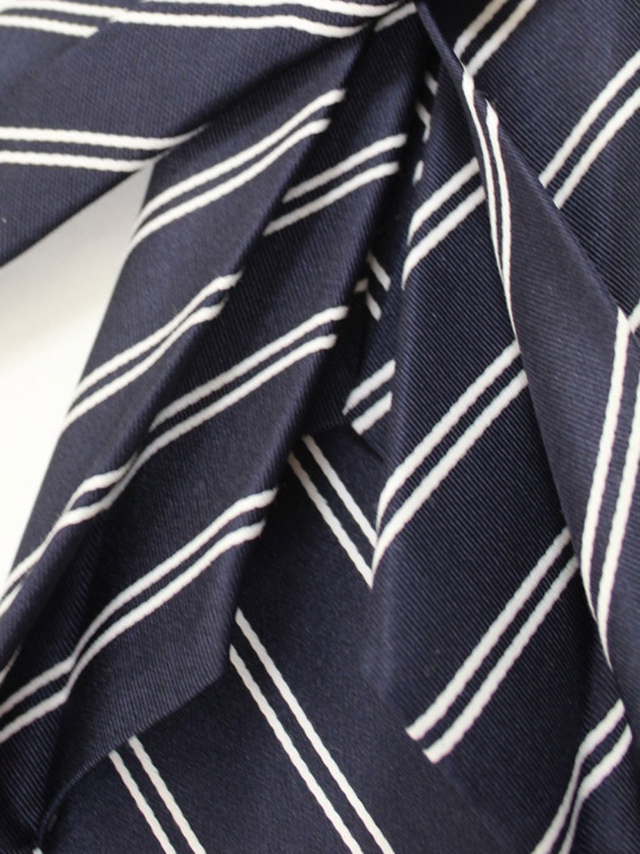 Massimo Valeri 11 Fold Tie Dark Navy White Stripes Elevenfold Necktie