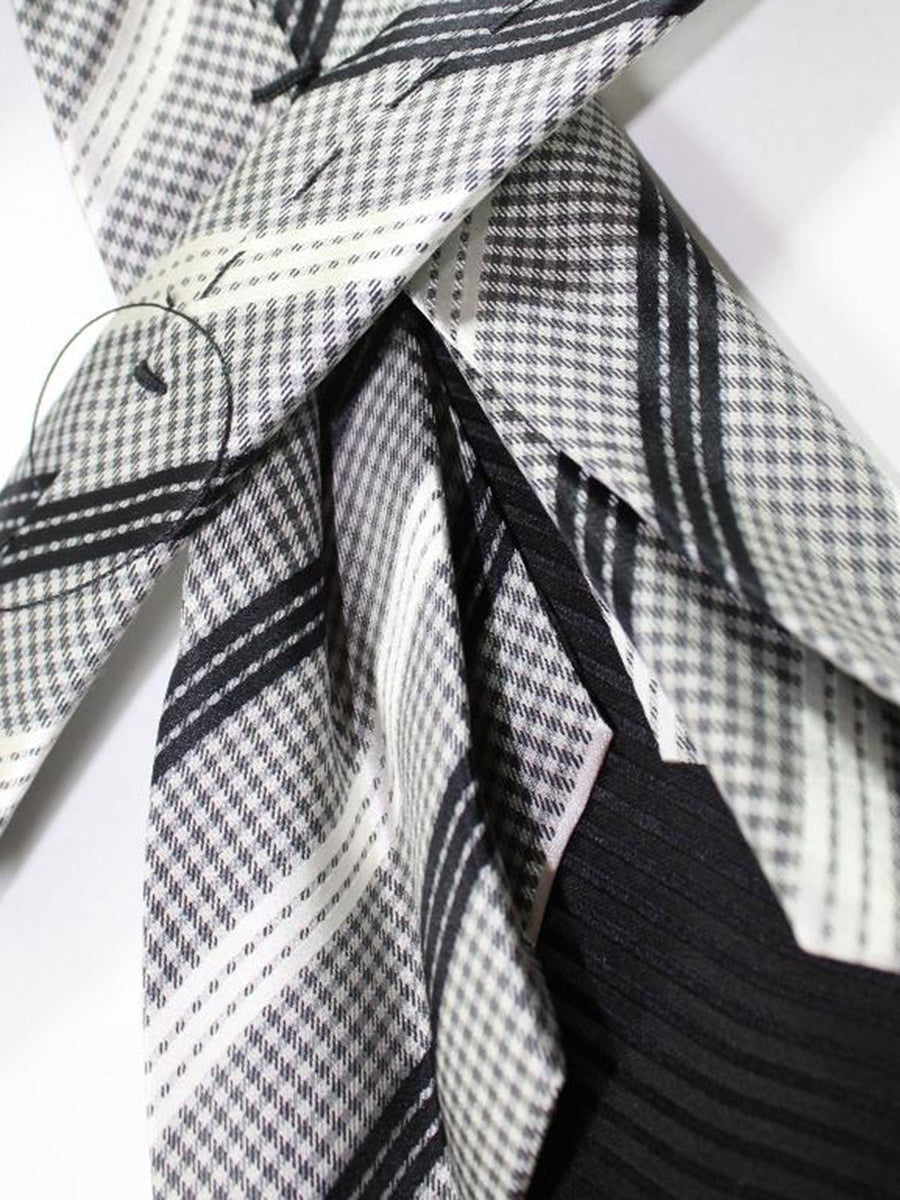 Massimo Valeri 11 Fold Tie Grey Black Check Design Elevenfold Necktie