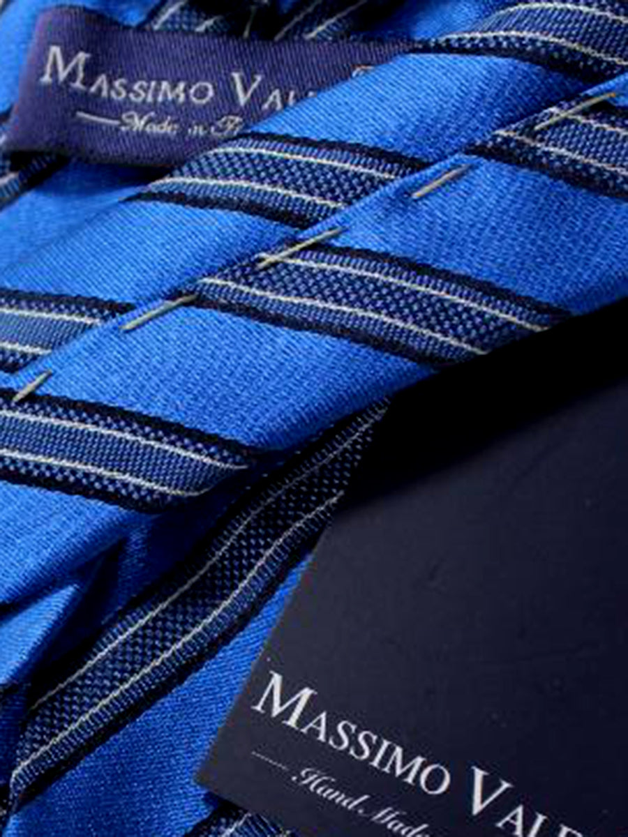 Massimo Valeri Sevenfold Tie Royal Blue Stripes