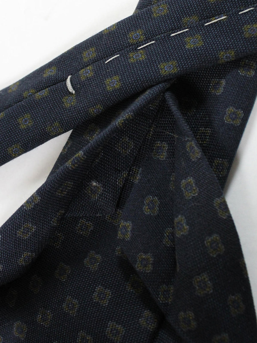 Massimo Valeri 11 Fold Tie Black Green Navy Geometric Design Elevenfold Necktie