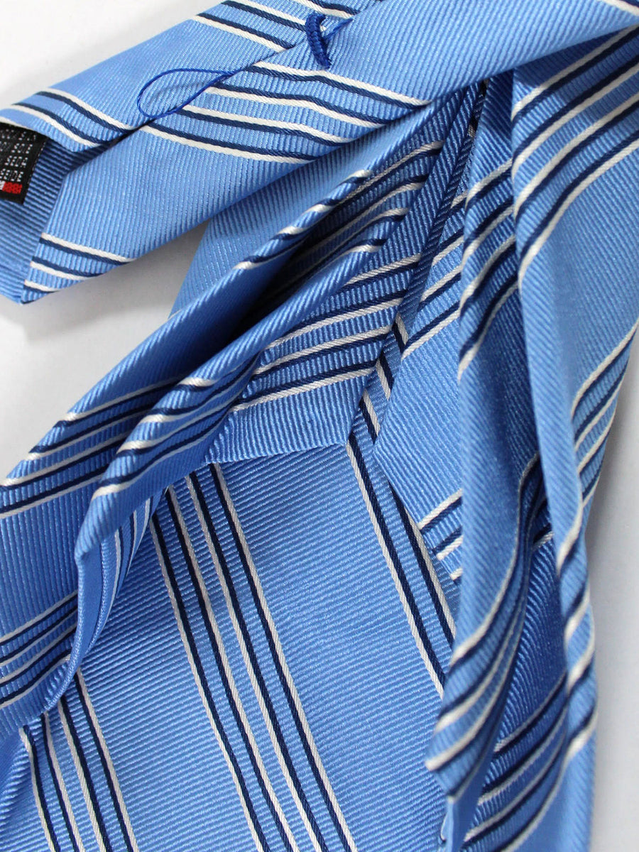 Massimo Valeri 11 Fold Tie Blue Stripes Design Elevenfold Necktie