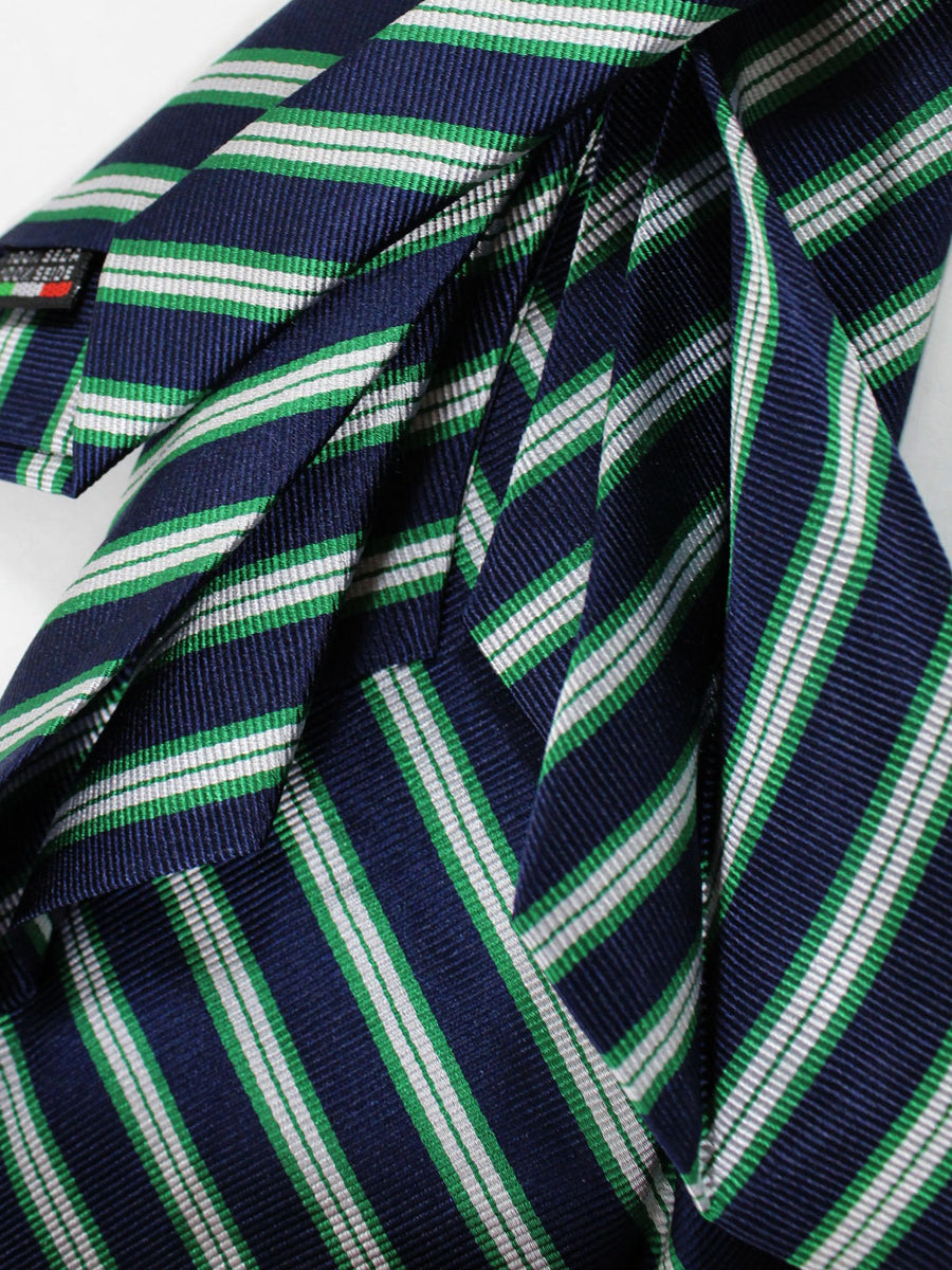Massimo Valeri 11 Fold Tie Dark Navy Green Silver Stripes Design Elevenfold Necktie