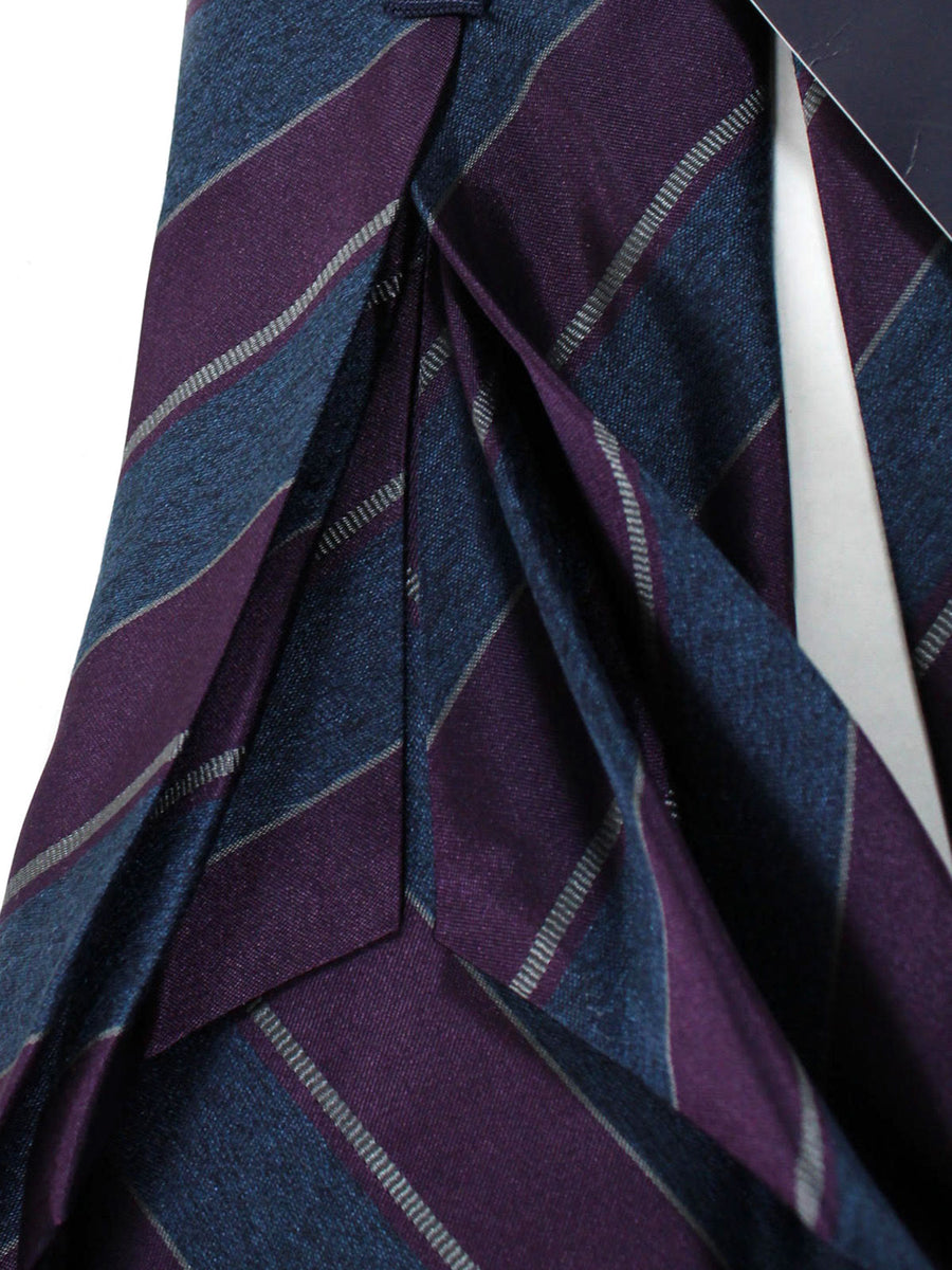 Massimo Valeri 11 Fold Tie Gray Purple Stripes Design Elevenfold Necktie