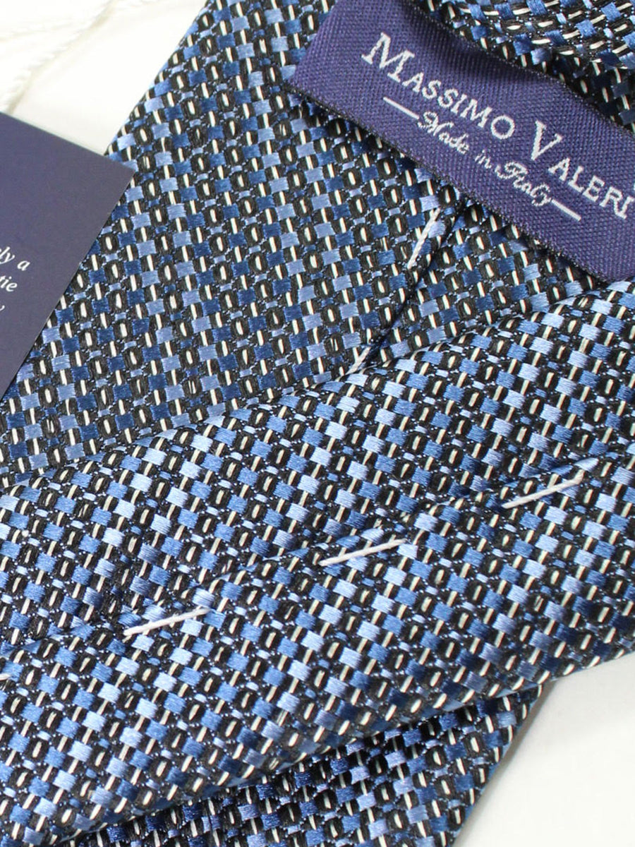 Massimo Valeri Extra Long Tie Navy Blue Silver Stripes