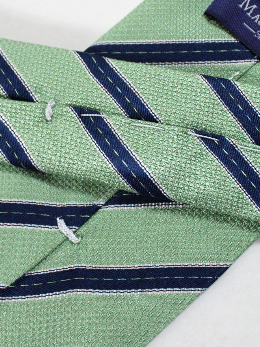 Massimo Valeri Extra Long Tie Mint Navy Stripes