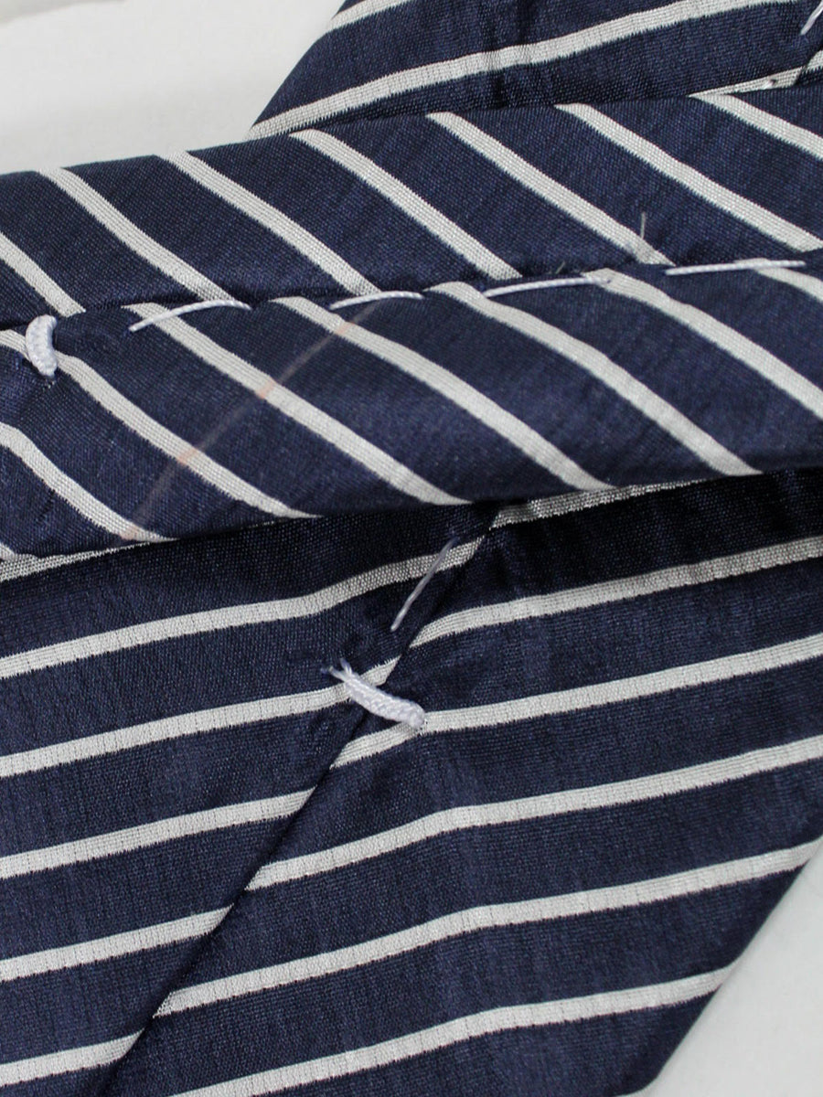 Massimo Valeri Extra Long Tie Dark Navy Silver Stripes