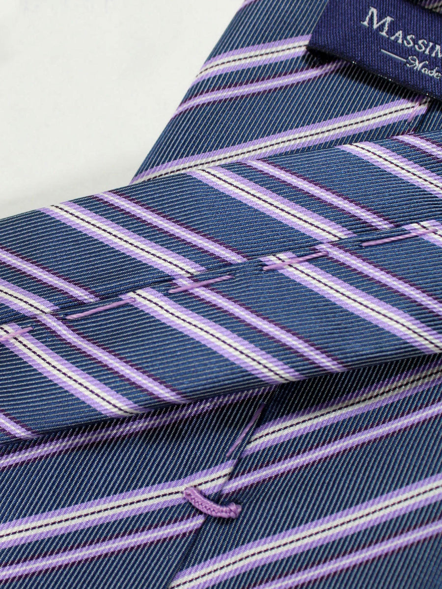 Massimo Valeri Extra Long Tie Lilac White Silver Stripes
