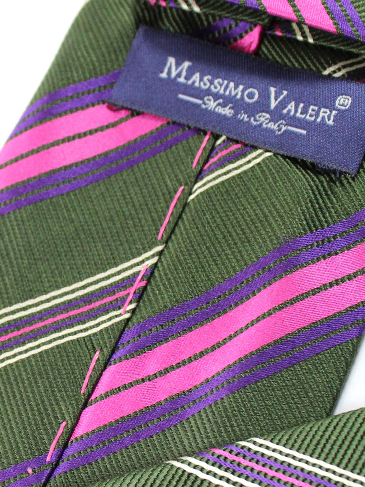Massimo Valeri Extra Long Tie Dark Green Purple Pink Stripes