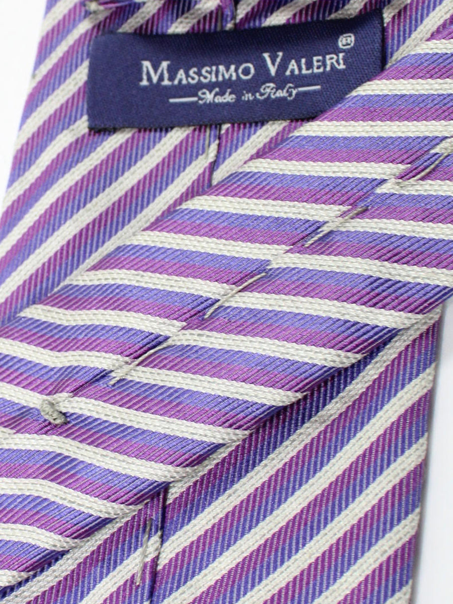 Massimo Valeri Silk Extra Long Tie Purple Gray Stripes
