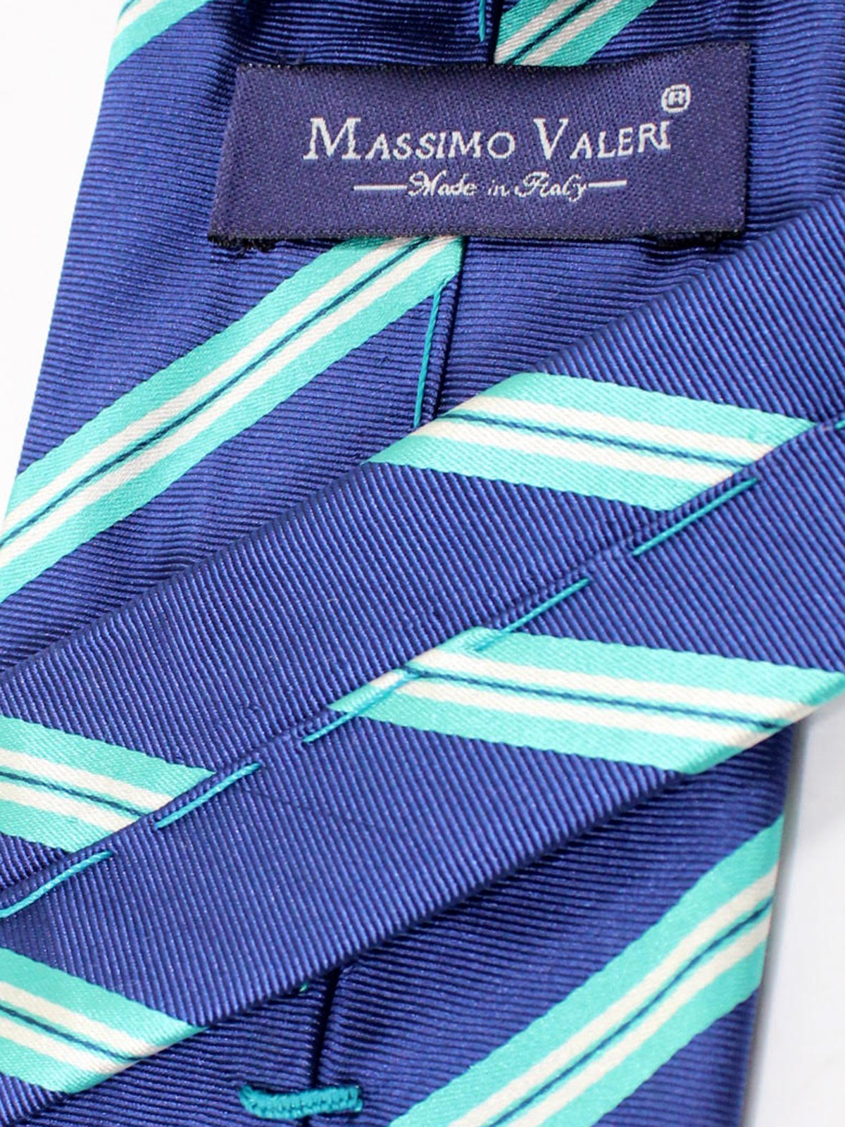 Massimo Valeri Silk Extra Long Tie Navy Aqua Stripes