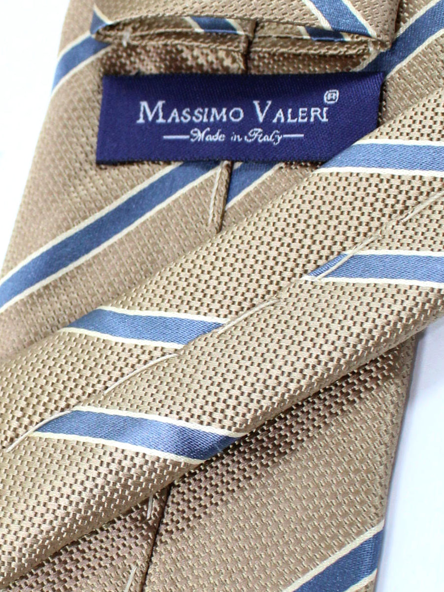Massimo Valeri Silk Extra Long Tie Taupe Metallic Gray Stripes
