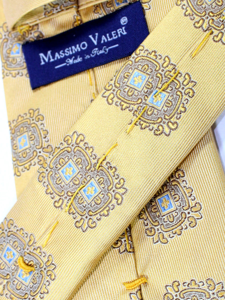 Massimo Valeri Silk Extra Long Tie Cream Gold Blue Medallions