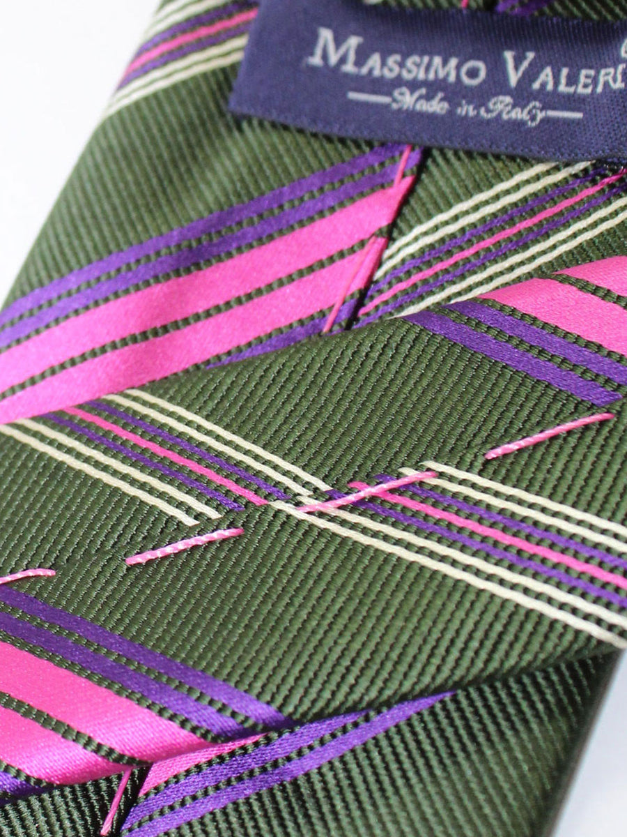 Massimo Valeri Extra Long Tie Forest Green Pink Stripes
