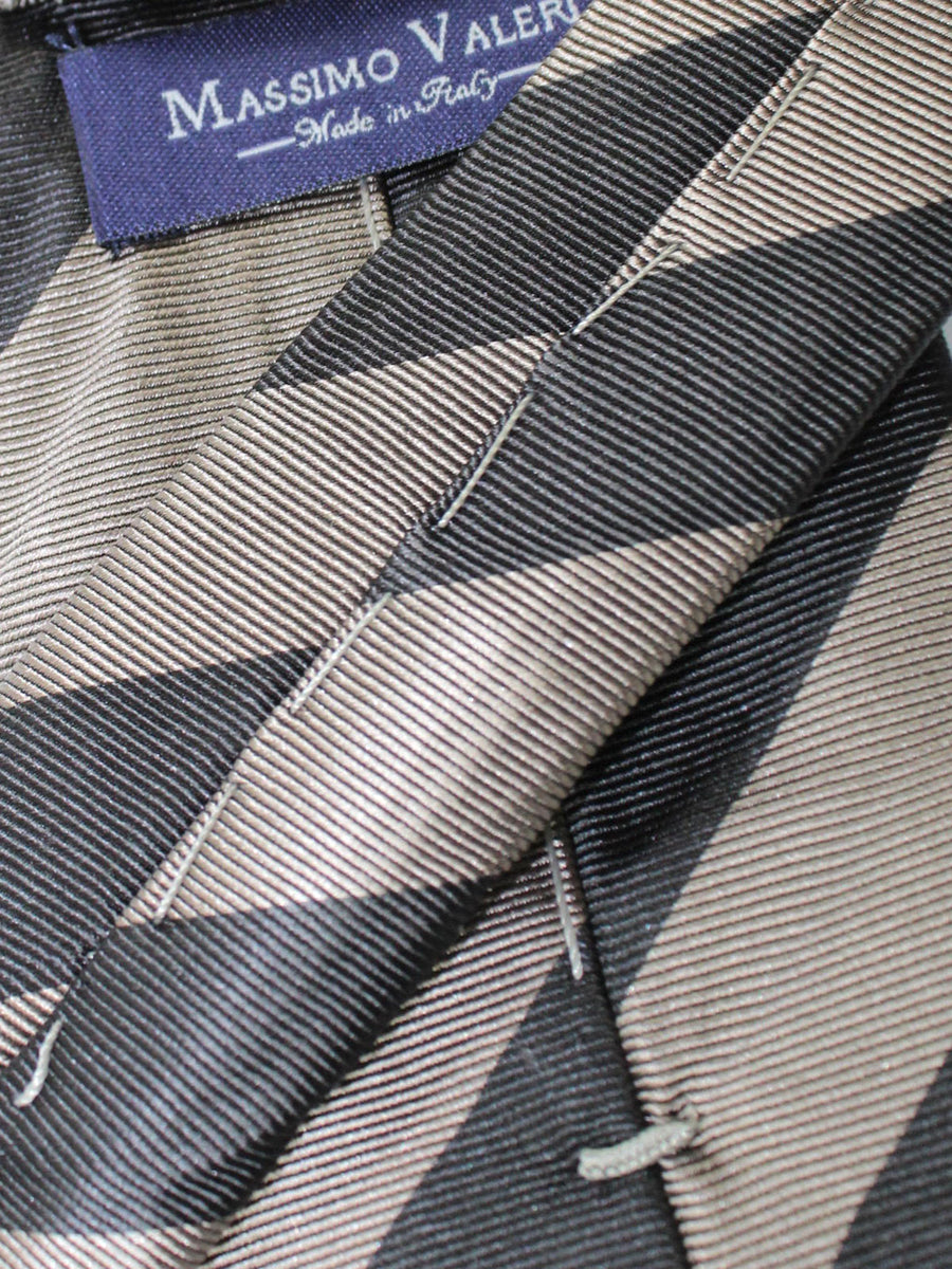 Massimo Valeri Extra Long Tie Taupe Dark Brown Stripes
