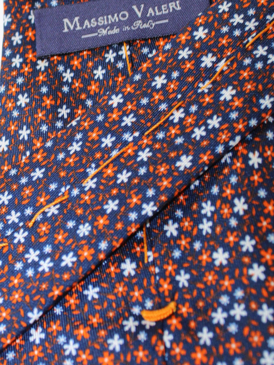 Massimo Valeri Extra Long Tie Navy Orange White Floral