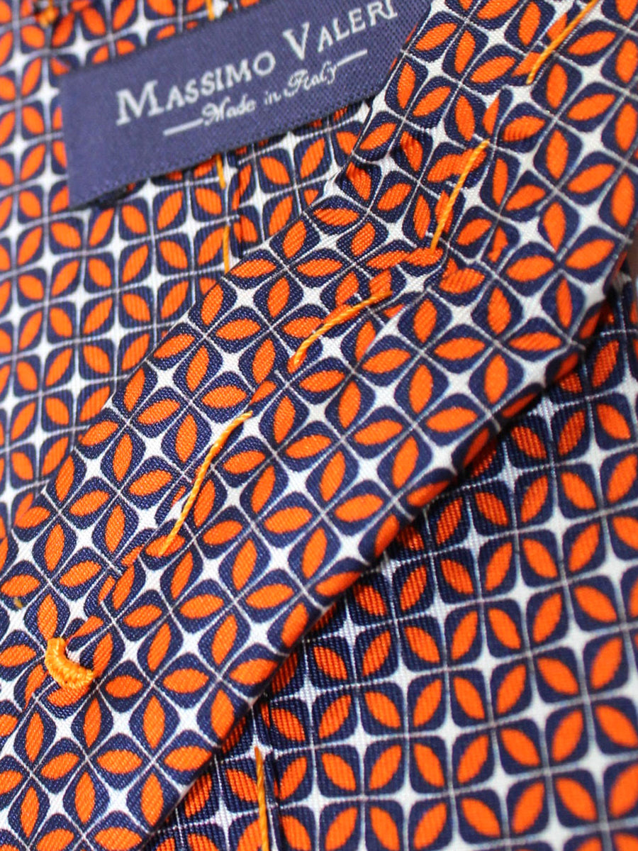 Massimo Valeri Extra Long Tie Orange Navy Geometric