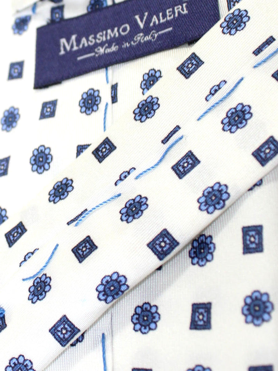 Massimo Valeri Extra Long Tie White Blue Navy Floral