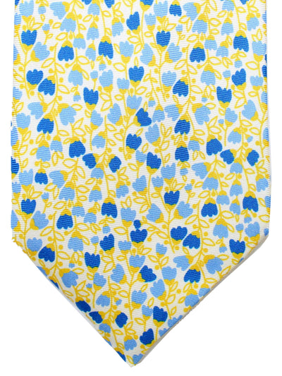 Massimo Valeri Elevenfold Fold Tie White Yellow Blue Floral 11 Fold Necktie