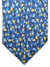 Massimo Valeri Elevenfold Fold Tie Navy Blue Yellow Floral 11 Fold Necktie