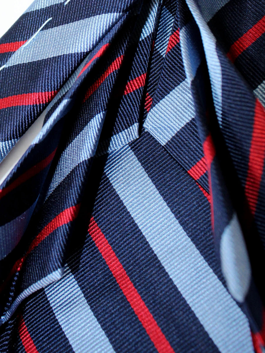 Massimo Valeri Elevenfold Fold Tie Navy Blue Red Stripes 11 Fold Necktie