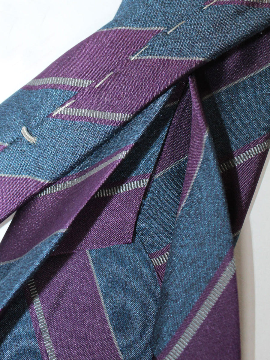 Massimo Valeri Elevenfold Fold Tie Gray Purple Stripes 11 Fold Necktie