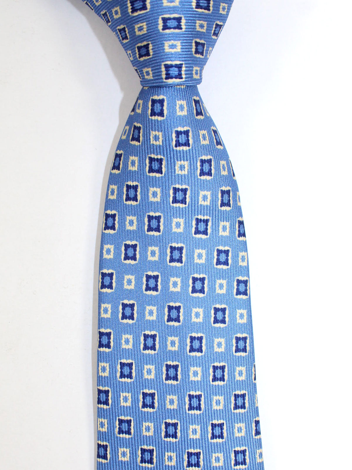 Massimo Valeri Extra Long Tie Blue Navy White Geometric