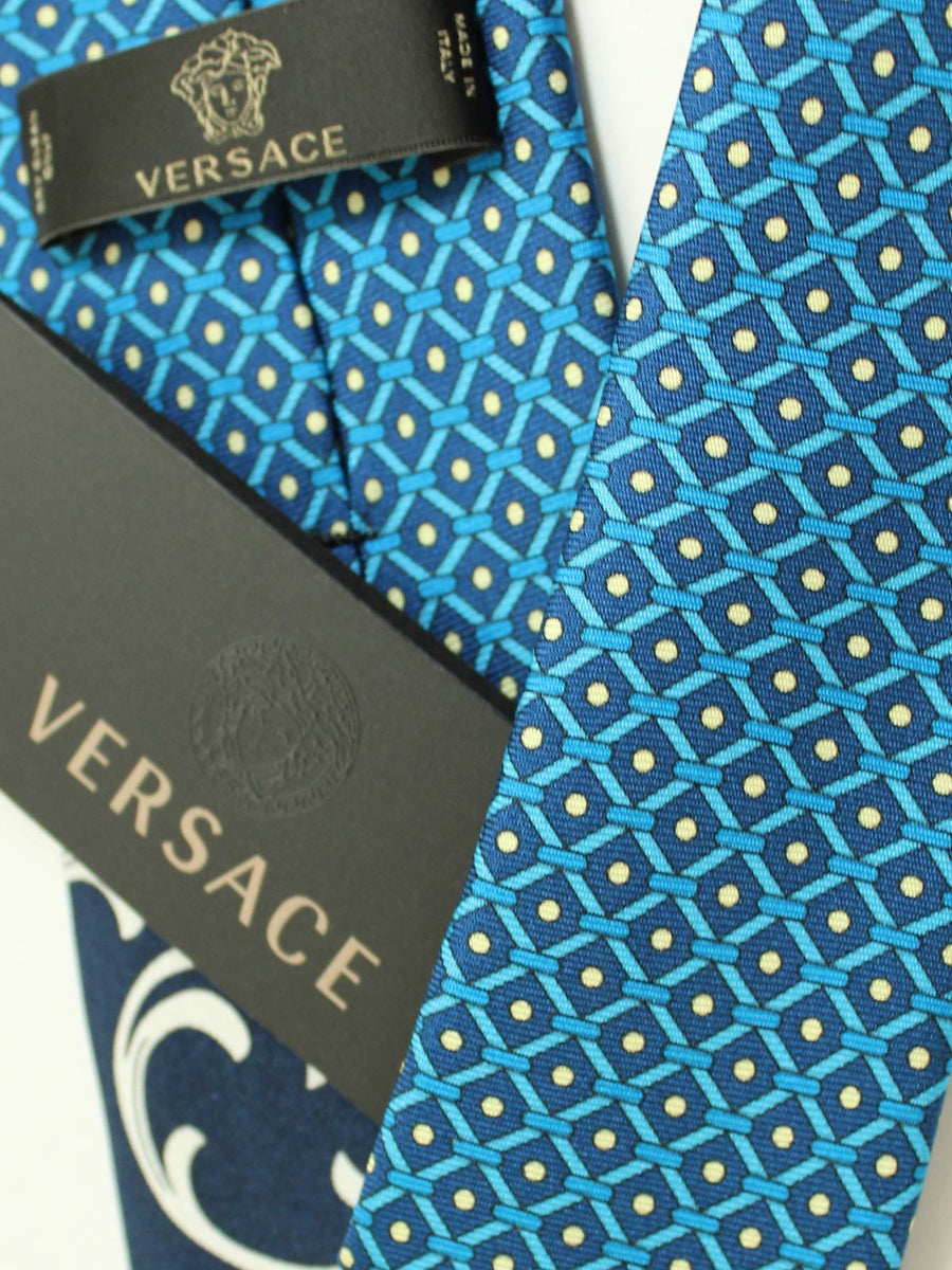 Versace Tie Medusa Baroque Aqua Dark Blue Design - Narrow Cut FINAL SALE