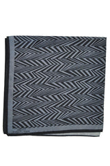Versace Pocket Square Gray Black Herringbone