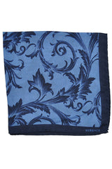 Versace Silk Pocket Square Midnight Blue
