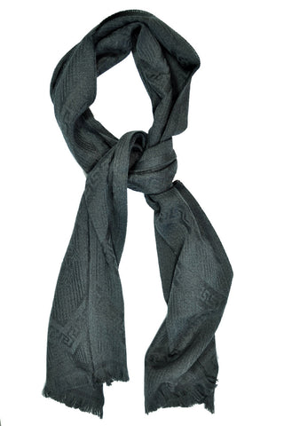 Versace Wool Scarf Dark Gray Logo