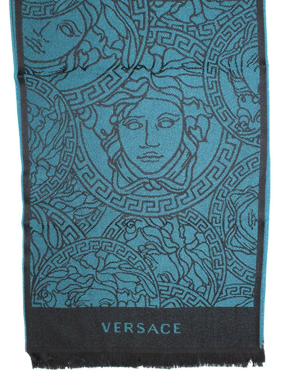 Versace Wool Scarf Teal Black Medusa Design SALE