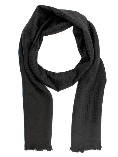 Versace Wool Scarf Tonal Black Logo Medusa Herringbone Patch Design