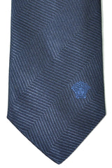 Versace Tie Navy Herringbone Stripes