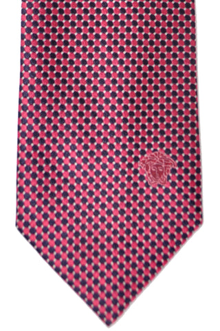 Versace Tie Navy Pink Dots - Made in Italy