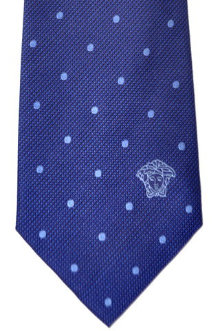 Versace Tie Navy Blue Polka Dots - Made in Italy