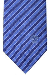 Versace Tie Navy Blue Silver Stripes