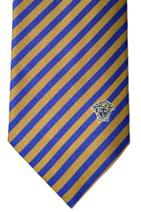 Versace Tie Royal Blue Yellow Gold Stripes
