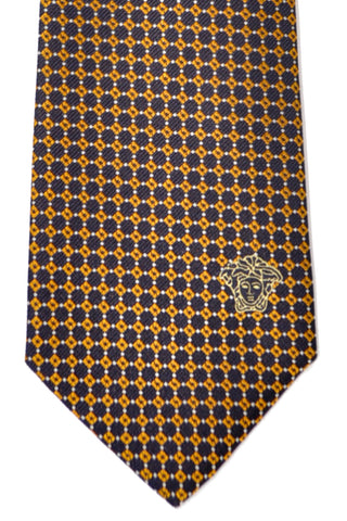 Versace Tie Navy Mustard - Made in Italy