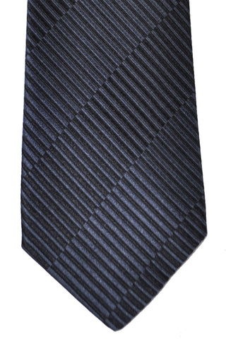 Versace Tie Black Gray Stripes - Made in Italy
