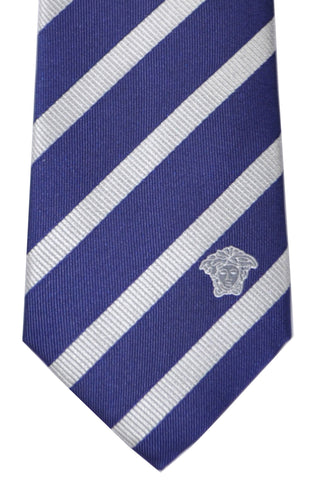 Versace Tie Navy Gray-Silver Stripes - Made in Italy